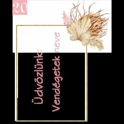 nude levélmintás ültetőkártya köszönetajándékhoz