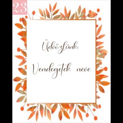 őszi levélmintás ültetőkártya köszönetajándékhoz