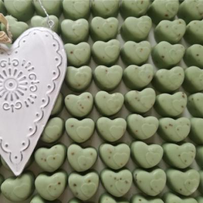 zöld színű szív alakú zero waste köszönetajándék